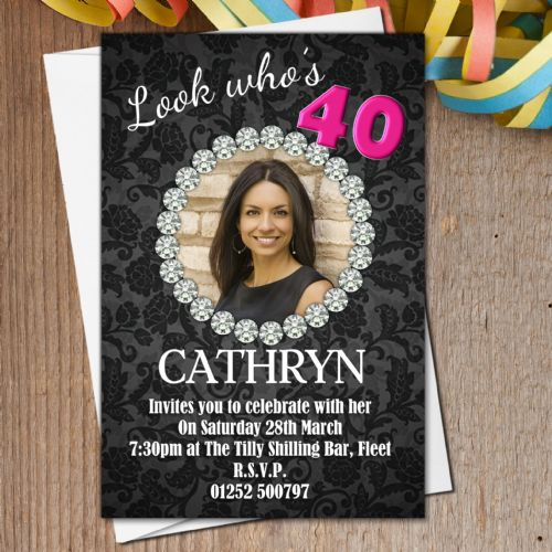 10 Personalised Black Diamond Birthday Party PHOTO Invitations N186